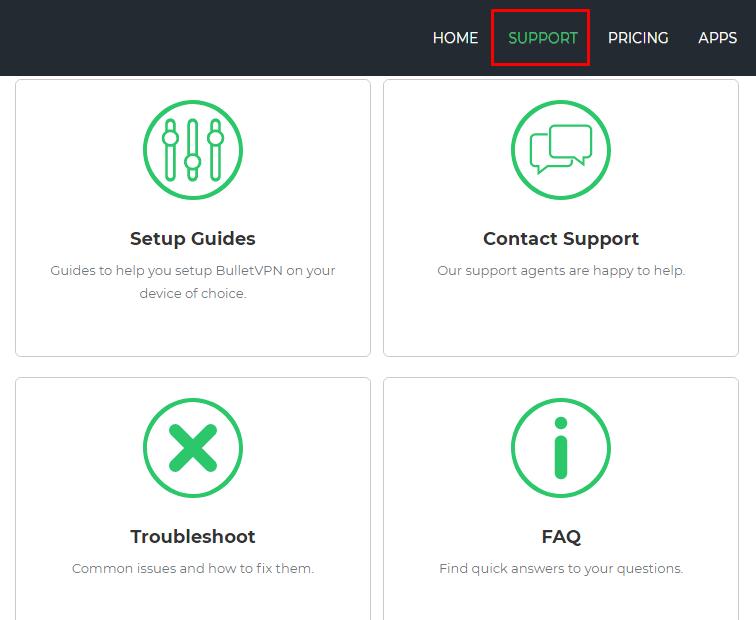 BulletVPN customer support