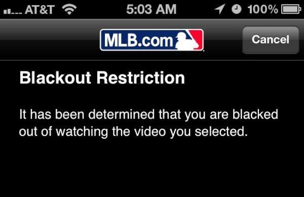 MLB Blackout on Phone