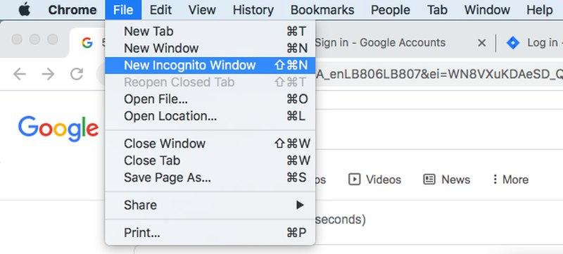 Activate Incognito on Mac