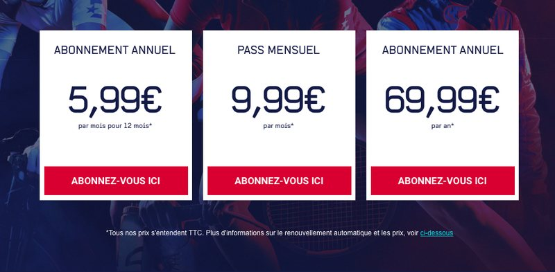 Eurosport Player France Pricing