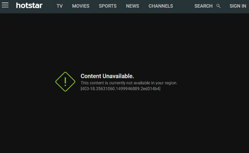 Hotstar Location Error