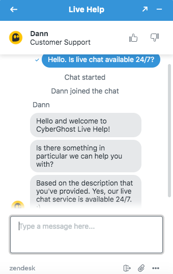 CyberGhost Live Chat Feature