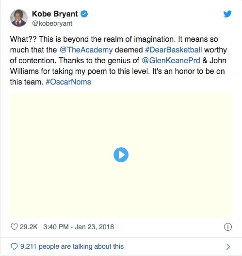 Kobe Oscar tweet