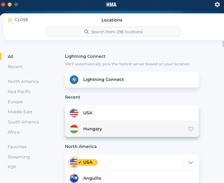 HMA Server List