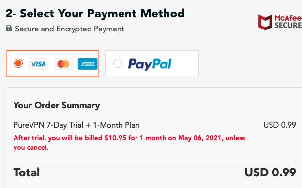 PureVPN Payment
