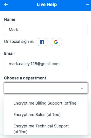 Encrypt.me Live Chat Feature