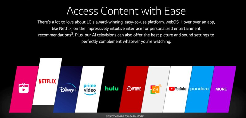 LG Smart TV streaming platforms