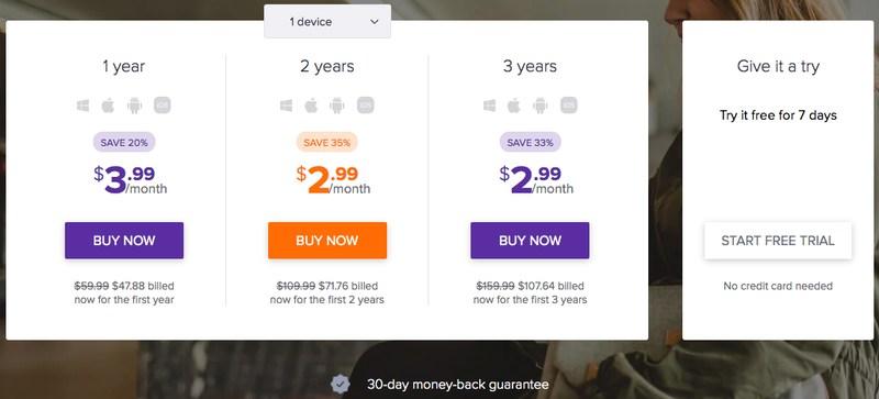 SecureLine VPN 1 device price
