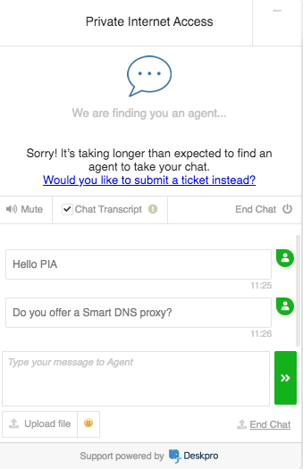 PIA No Smart DNS