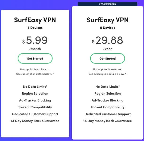 SurfEasy VPN Prices