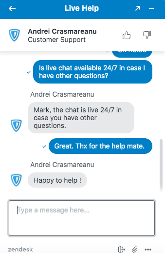 ZenMate Live Chat