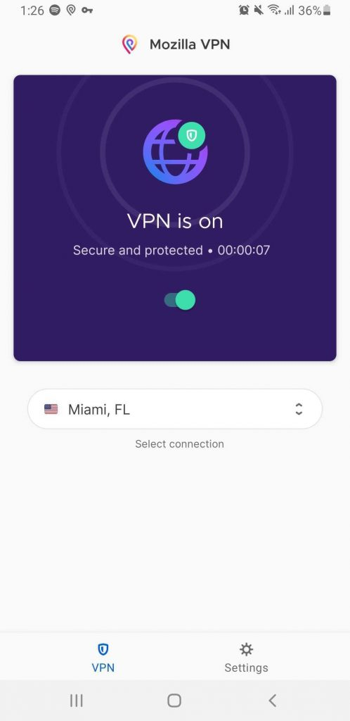 Mozilla VPN On