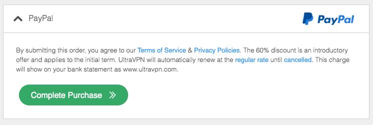 UltraVPN Payment Method PayPal