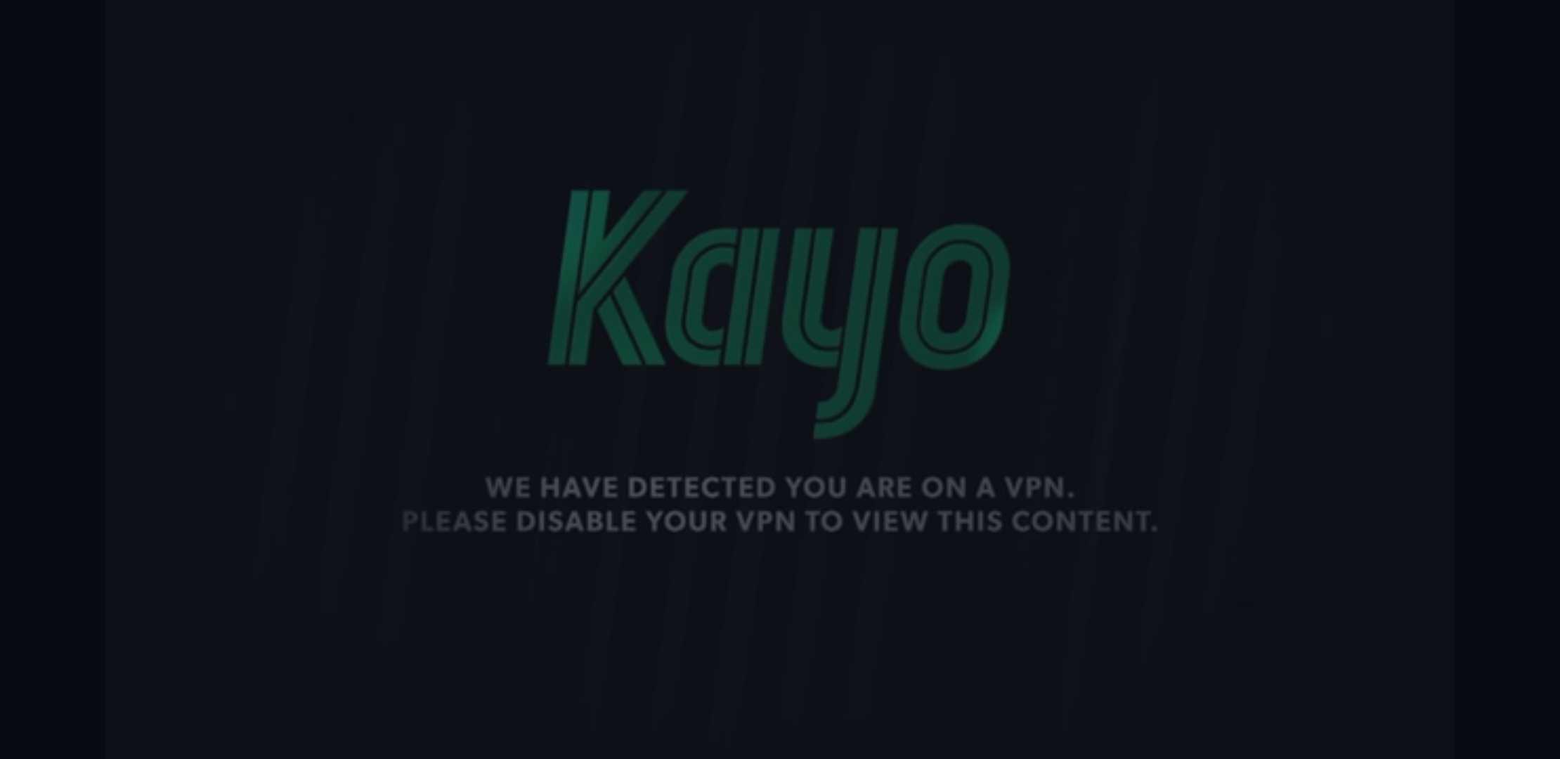 Kayo Sports VPN Error