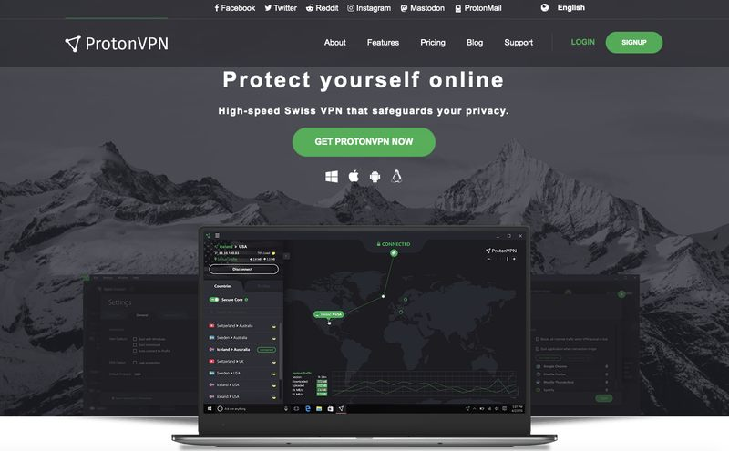 ProtonVPN Website - Homepage