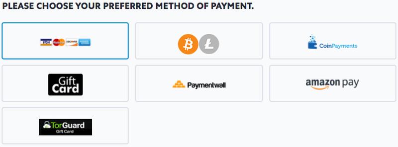 TorGuard Payment Methods