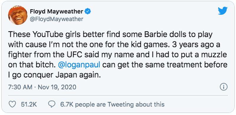 Mayweather Tweet about Paul