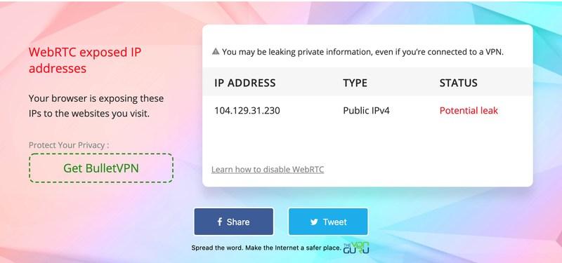 IVPN WebRTC Leak Test