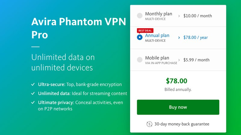 Avira VPN Pricing