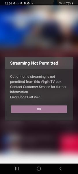 Virgin TV Go Error